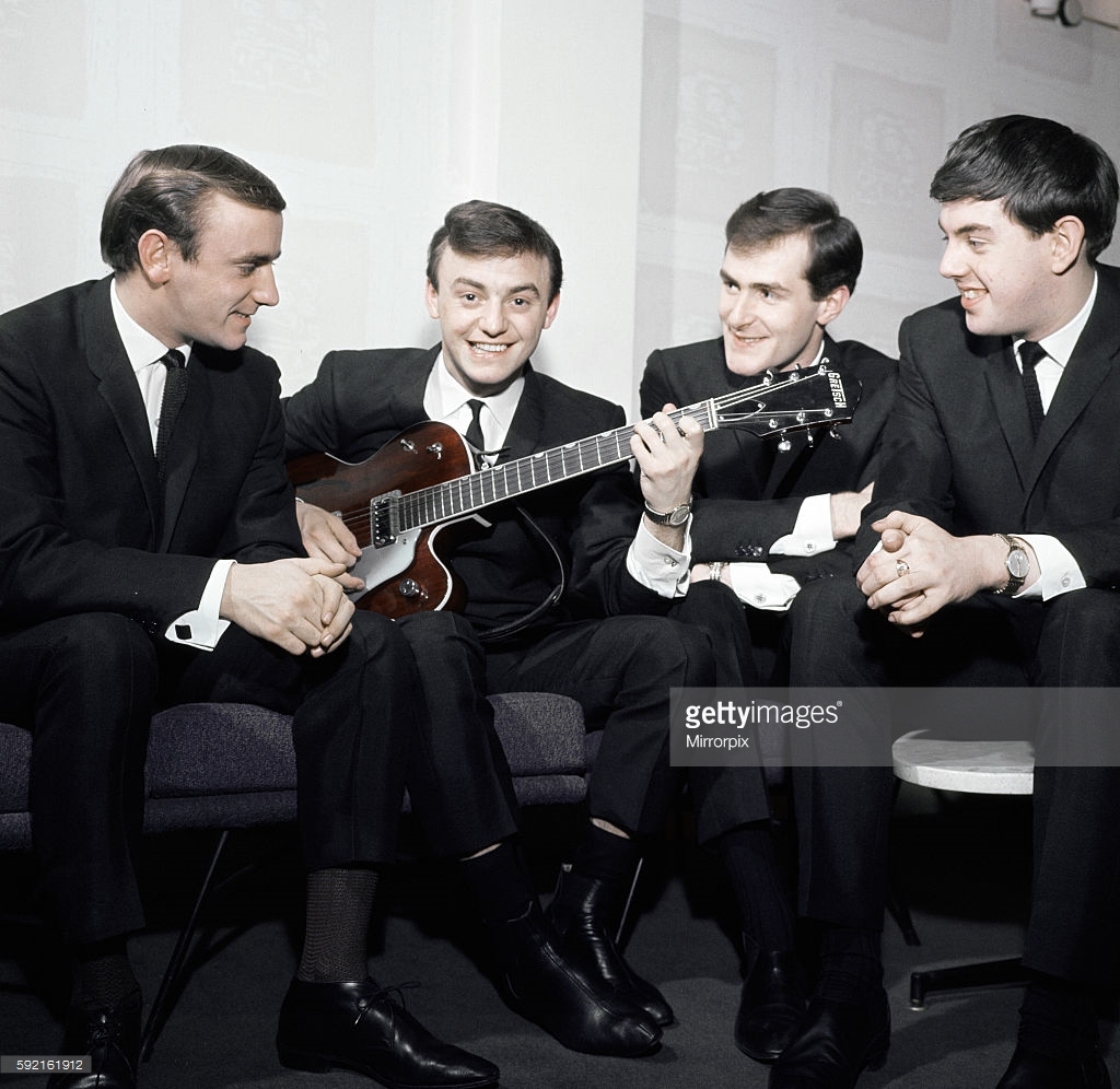 Gerry Liverpudlian group Gerry and the Pacemakers, led by Gerry Marsden, record the television show 'Thank Your Lucky Stars' at the ABC Studios in Birmingham. 5th January 1964.