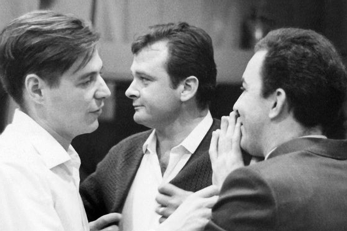 Antônio Carlos Jobim, Stan Getz, and João Gilberto take a break during the recording of Getz/Gilberto at the A&R Recording Studio, March 1963.