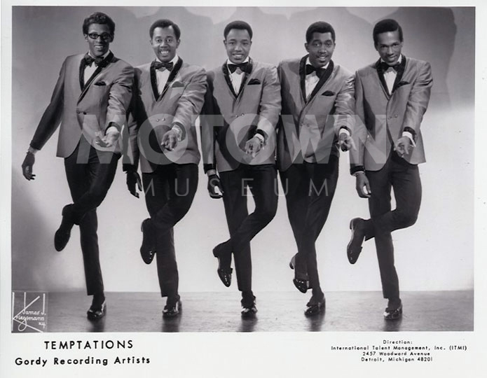 L-R: David Ruffin, Melvin Franklin, Paul Williams, Otis Williams, Eddie Kendricks Courtesy of the Motown Museum